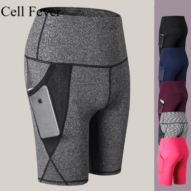 High Waist Yoga Short With Pocket Shorts Cycling Tummy Control Workout Running Compression Shorts Non See-Through Sport Shorts