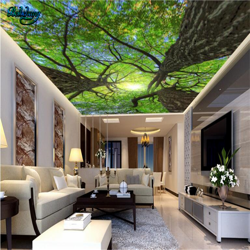beibehang Large Custom Wallpaper Mural 3D Vision Look Up Fresh Air Grove Bamboo Grottoes Backdrop Wall