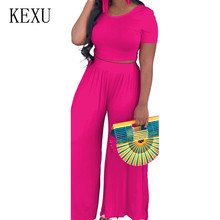 KEXU Rompers Short Sleeve O Neck Two Pieces Sets Jumpsuits Summer Casual Loose Wide Leg for Women Playsuits Combinaison Femme