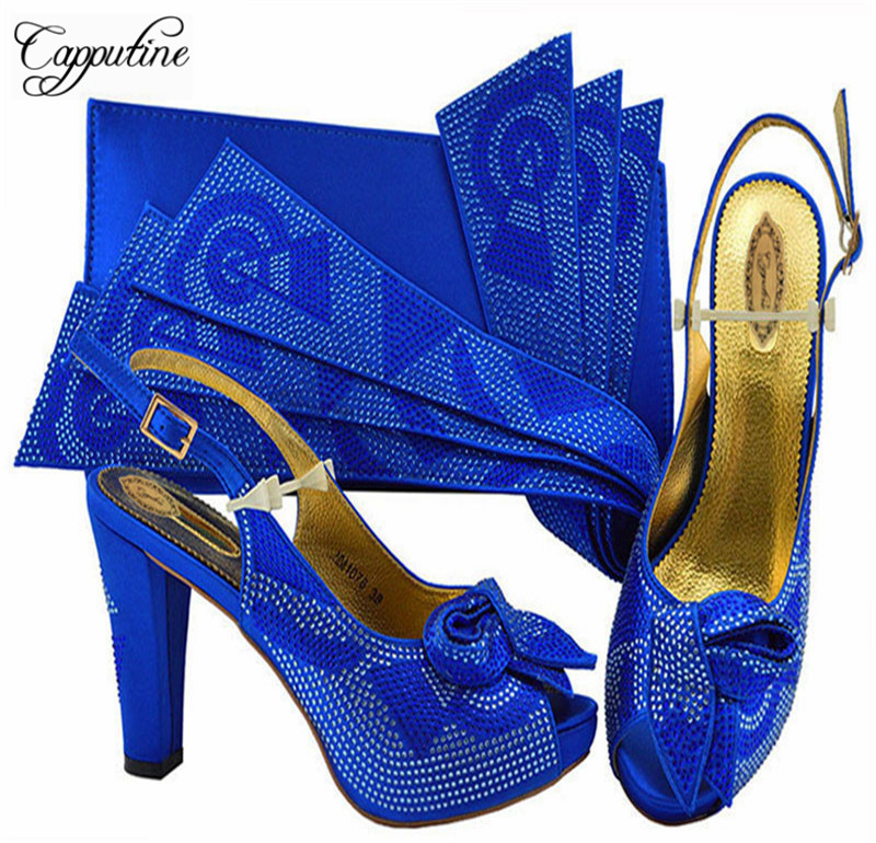Summer African Pumps Royal Blue Shoes And Bag To Match Set Summer Fashion High Heels 10CM Shoes And Bag Set For Party M1076 new african fashion ladies shoes and bag set summer style woman high heels shoes and bag set for party free shipping bl515c