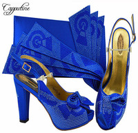 Summer African Pumps Royal Blue Shoes And Bag To Match Set Summer Fashion High Heels 10CM Shoes And Bag Set For Party M1076