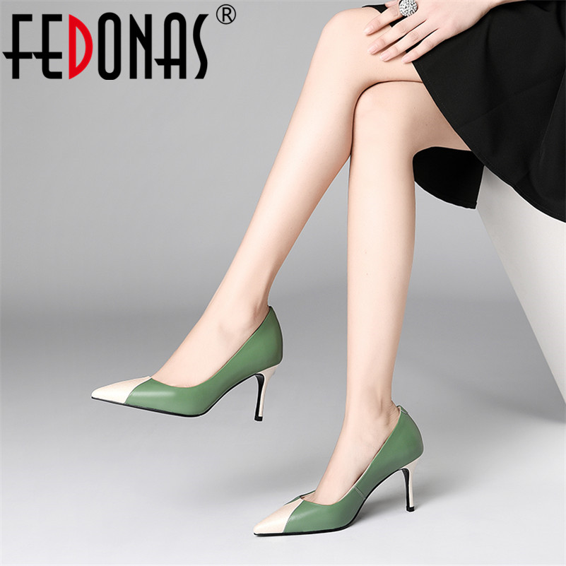 FEDONAS Fashion Sexy Women Genuine Leather High Heels Pumps Slip On Spring Summer Party Wedding Shoes