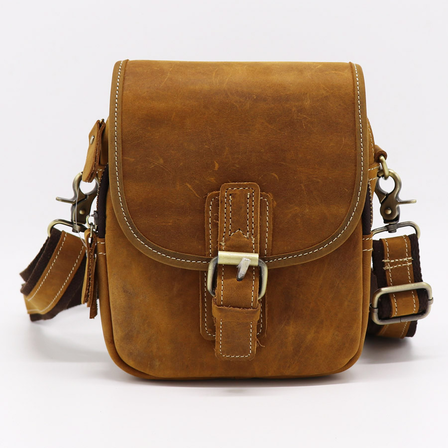Brand Handmade Genuine Crazy Horse Casual Small Cross Body Shoulder Bag Men's Messenger Bags Male Belt Waist Pack For Cell Phone