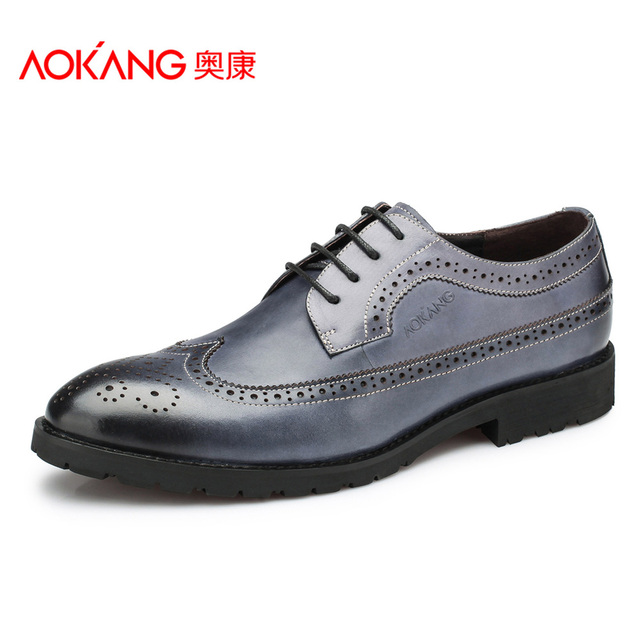Aokang The Hottest Fashion Men Shoes Genuine Leather Men's Brogues Shoes Leather Dress shoes Free Shipping