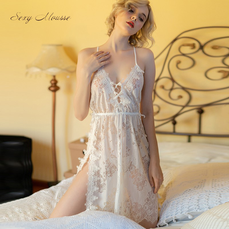 Sexy Mousse Deep V Nightgown Thong Sets Sexy Lace Sleep Wear Wedding Use Hollow Out Sleeveless Backless See Through Embroidery