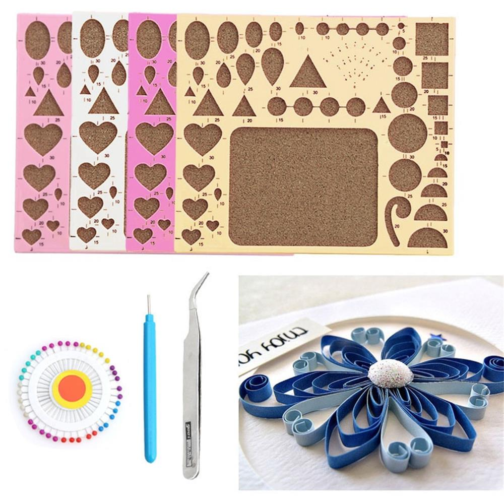 Scrapbook paper cheap - 1 Set Random Diy Tool Paper Quilling Rolling Kit Mould Board Tweezer Pins Slotted Tools Hamdmake