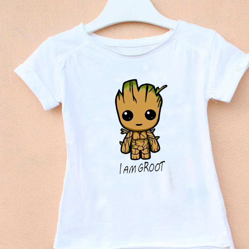 2018 New Short Sleeve Boys&Girls I Am Grootted T-shirt Kids Guardians of the Galaxy Print T Shirt Childrens Casual Clothing