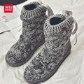 Mulheres Tornozelo Botas De Neve Tricô ugs Austrália Inverno Femal Algodão Soft Top Quente Sapatos Casuais Plataforma de Tiras