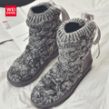 Women Ankle Snow Boots Knitting ugs Australia Winter Casual Cotton Femal Soft Top Warm Shoes Straps Platform