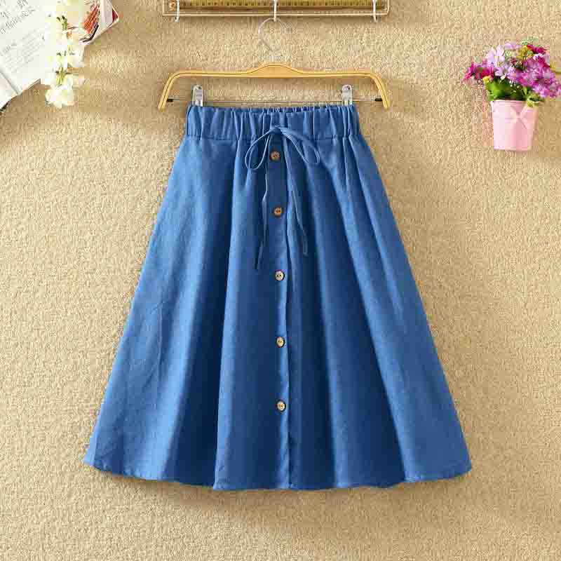 Fashion Women Skirt Vintage Retro High Waist Pleated Midi Skirt Denim Single Breasted Skirt Clothing