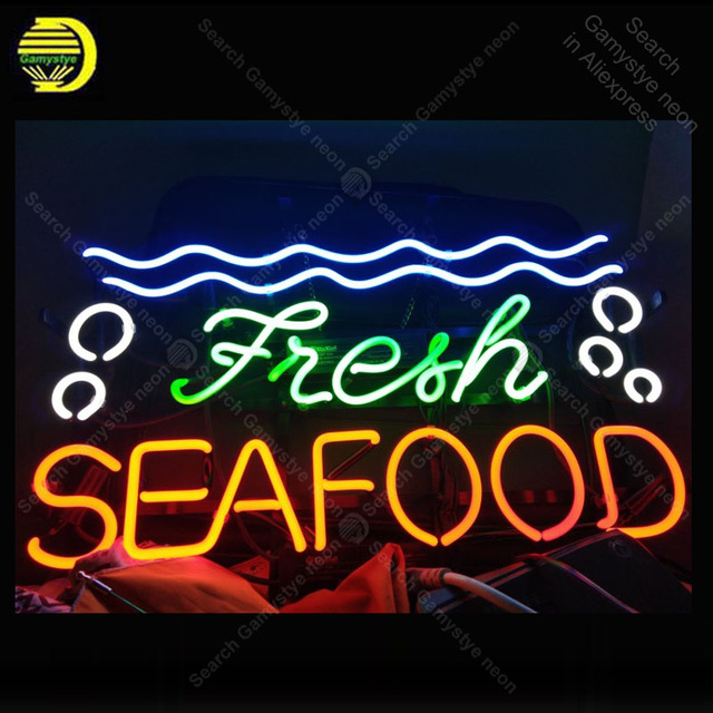 Neon Sign for Fresh Seafood Neon Bulb sign shop Display handcraft glass tube light Decor wall lamps advertise display in stock
