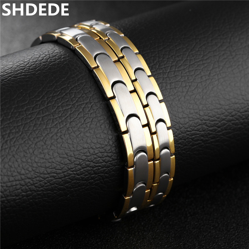 цена на SHDEDE Stainless Steel Couple Bracelet For Men And Women High Quality Healthy Magnetite Anti-fatigue Energy Balance .OB876
