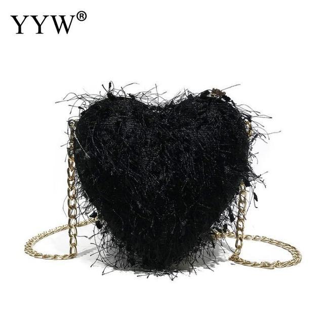 Elegant Fluffy Fur Bags For Women Fashion Heart Design Tassel Faux Fur  Crossbody Bags Black Silver Purses And Handbags 2018 d47ddd33a8274