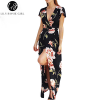 Lily Rosie Girl Women 2017 Black Deep V Neck Boho Floral Print Summer Party Maxi Dress