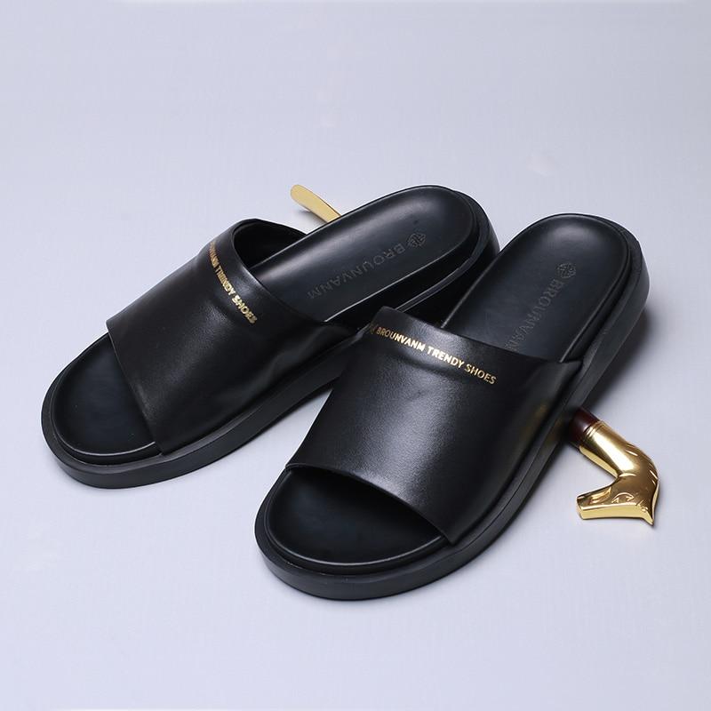 Match koeienhuid Slippers mannen zomer Echt Lederen sandalen Sneakers Mannen Slippers Slippers casual Schoenen strand outdoor - 4