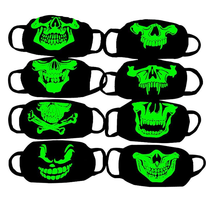 LNRRABC Trendy Anti Haze Mask Respirator Health Cycling Luminous Skull Print Mouth Face Mask Anti-dust Women Fashion Face Masks