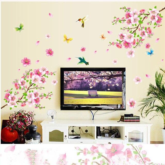 Pvc Selbstklebende Pfirsichblüte Wandaufkleber Für Wohnzimmer Tv