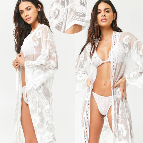 Active Summer Women Bikini Cover Up Sarong Cardigan Dress Kaftan Lace Crochet Sheer Beach Wear Long Blouse Casual Loose Long Sleeve Women's Clothing