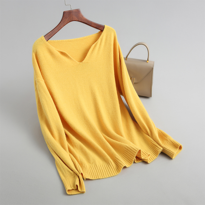 Women Solid Color V-neck Sweater Casual Loose Long-sleeved Sweater