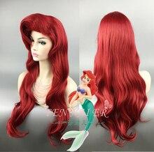 Little Mermaid วิกผมลอนคลื่น Princess Ariel คอสเพลย์วิกผมสังเคราะห์ทนความร้อนผมเครื่องแต่งกายวิกผม + หมวกวิกผม