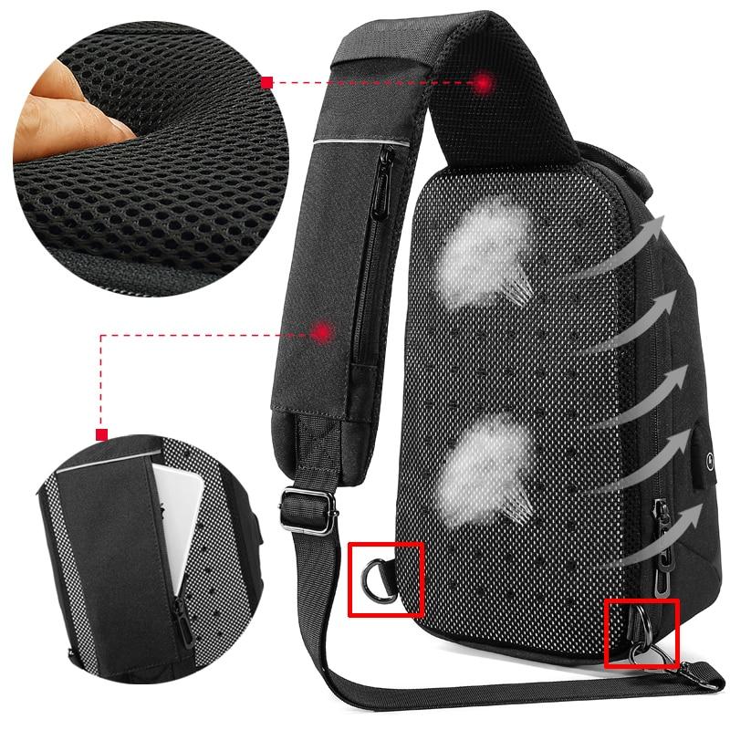 Crossbody-Bags Usb-Charging Water-Repellent Messengers Multifunction Male N1825 Men Short