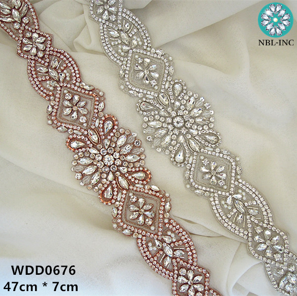 (1 PIECE)Bridal sash beaded sewing silver crystal rhinestone appliques for  wedding dresses sash fb31980d9845