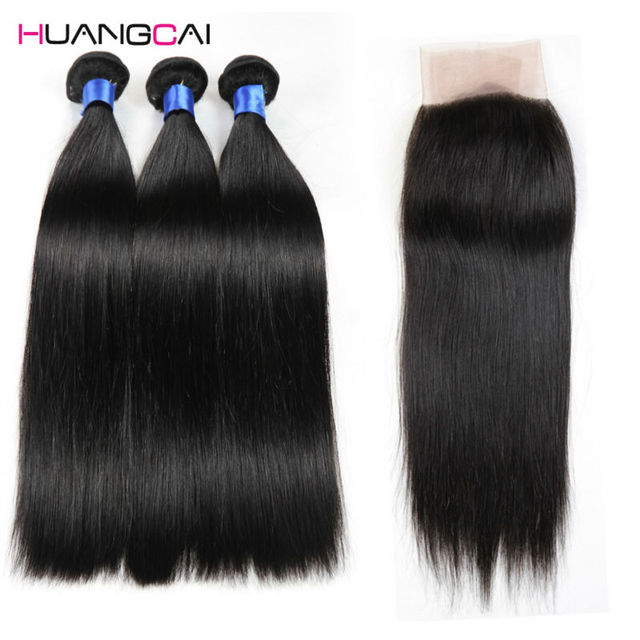 Grau 8a cabelo brasileiro virgem do cabelo com fechamento direto brasileiro com lace closure 3 pacotes barato tecer cabelo humano em linha reta