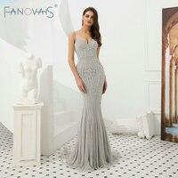 Silver Evening Dresses Mermaid Evening Gowns Gold Beads Luxury Prom Dress Long Vestido De Festia Robe De Soire 2019 Formal Dress