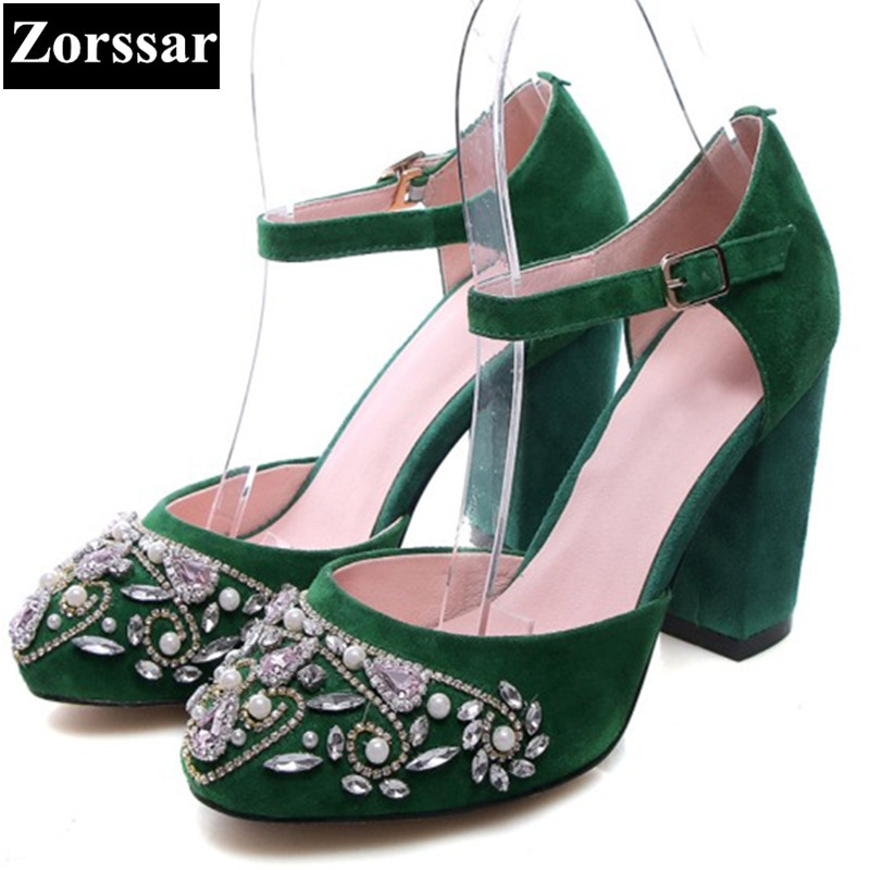 Summer shoes woman rhinestone high heels sandals women ankle strap shoes 2017 New Fashion Suede thick heel womens pumps heels plus size 2017 new summer suede women shoes pointed toe high heels sandals woman work shoes fashion flowers womens heels pumps