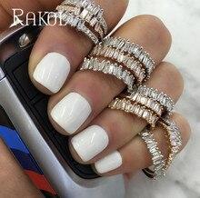 RAKOL Luxury Baguette AAA Cubic Zircon Bridal Open Ring Charms For Women Wedding Finger Jewelry T Shape Stone Rings RR203L