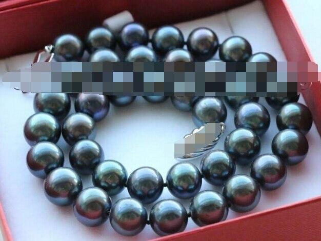 Livraison gratuite 0001321 Véritable Naturel 11-12mm Rond Noir Perle Collier 925 fermoir en argent