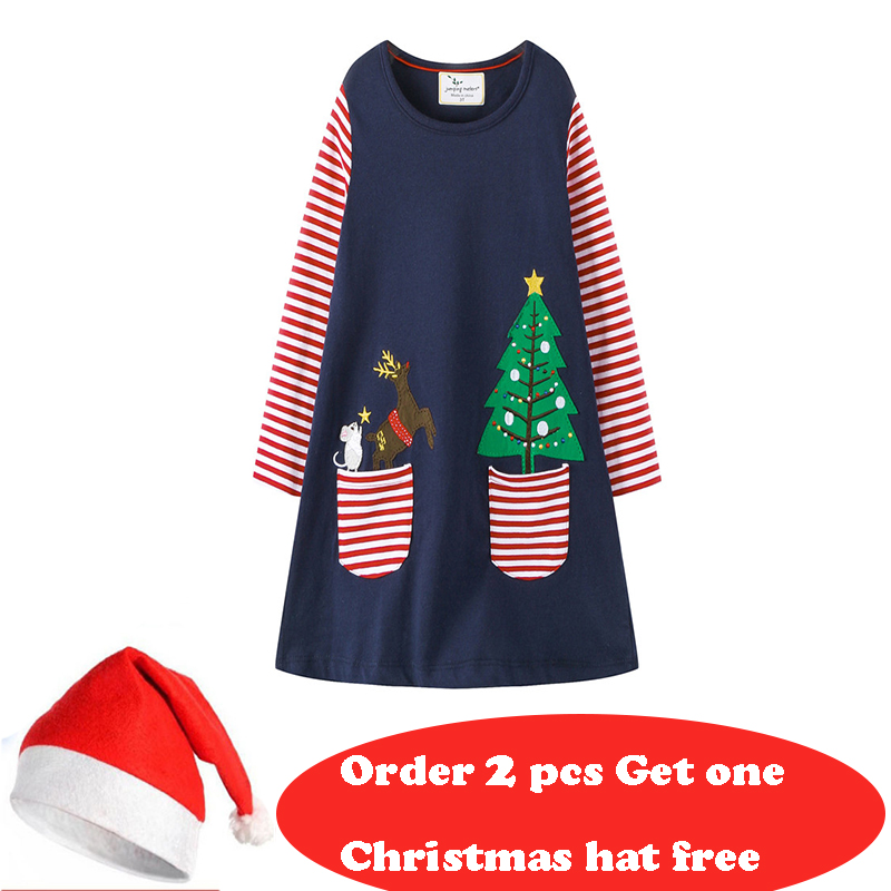 Jumping meters New Christmas Dresses baby girls dress cotton long sleeve applique kids dresses for girl clothing christmas dress jumping meters top brand dresses girls baby new clothing cotton striped applique animals princess autumn spring kids dress girl