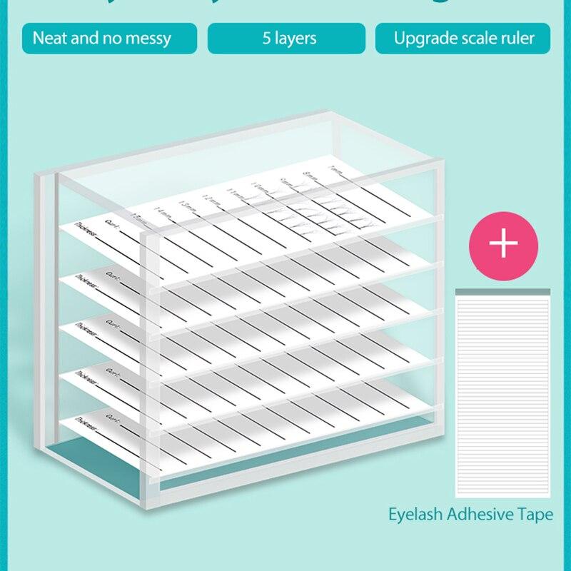 5 Layers Clear Eyelash Storage Box Makeup Display Container Eyelashes Glue Pallet Holder Grafting Eyelash Transparent Container
