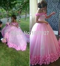 2016 Robe De Mariage Ball Gown Sweetheart Floor Length Tulle Pink Wedding Dress Off Shoulder Vestido De Novia With Flowers AS175