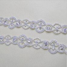 1 Ярдов 91*3.5 СМ Серебряный Цветок Flatback Сплава Стразы Аппликация для Свадебного Платья Одежды Сумки DIY Высокое Качество