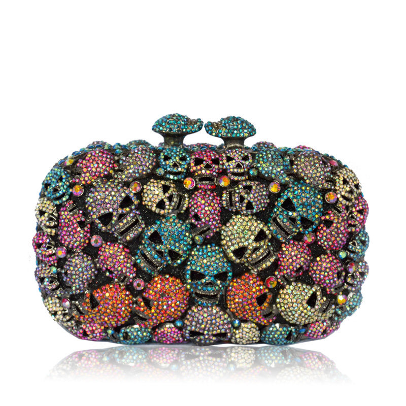 Ladies Colorful Crystal Skull Evening Clutches Bag Hollow Out Diamond Wedding Clutch Purse Women Bridal Handbags luxury women blue evening bags ladies hollow out party wallet diamond bridal wedding chain hand bag long purse bolso gift