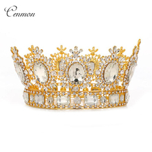 Vintage Baroque Queen King Bride Tiara Crown For Women Headdress Crystal Bridal Wedding Tiaras Crowns Hair Jewelry Accessories