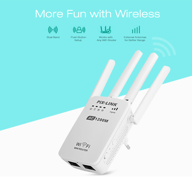 1200Mbps Wall Plug Routers AC1200 Dual Band Wireless Wi Fi AP Wifi Repeater Router Extender Booster 2.4/5GHz English Firmware