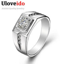 Joias anel masculino engagement sterling cz diamond rings wedding ring silver