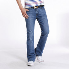 Men Spring Autumn Slim Fit Flared Jeans Pants Homme Business Casual Bell Bottom Trousers Mens Stretch Long Flare Blue