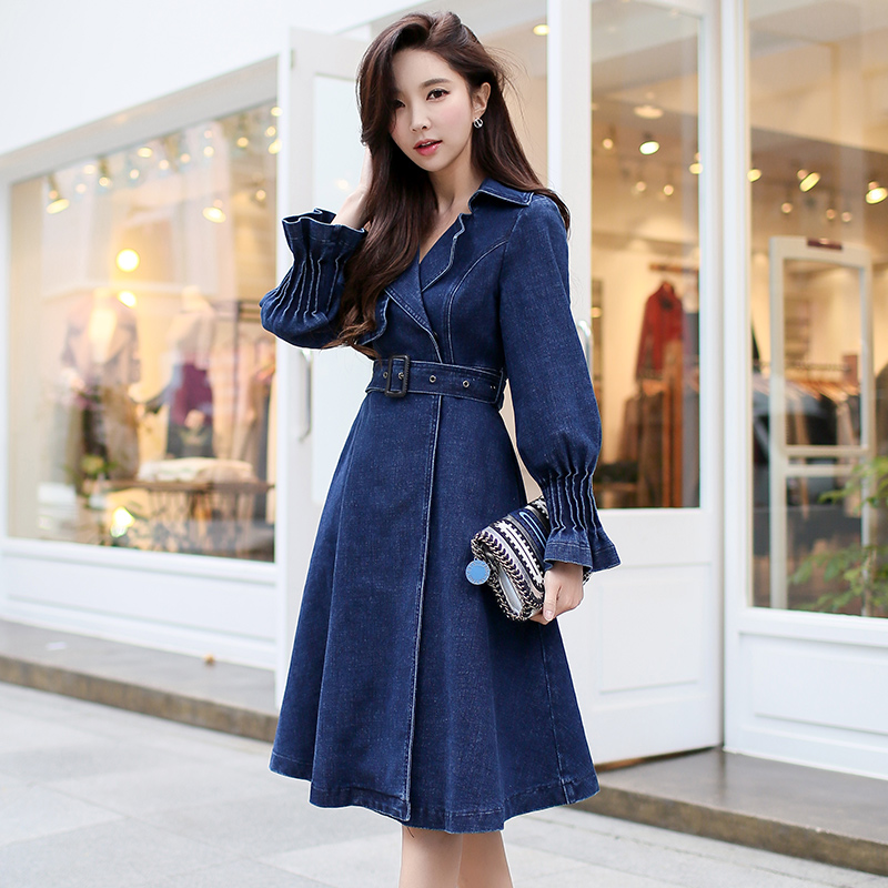 original 2018 spring new turn down collar slim belt waist cowboy   trench   coat fashion long denim coat women wholesale