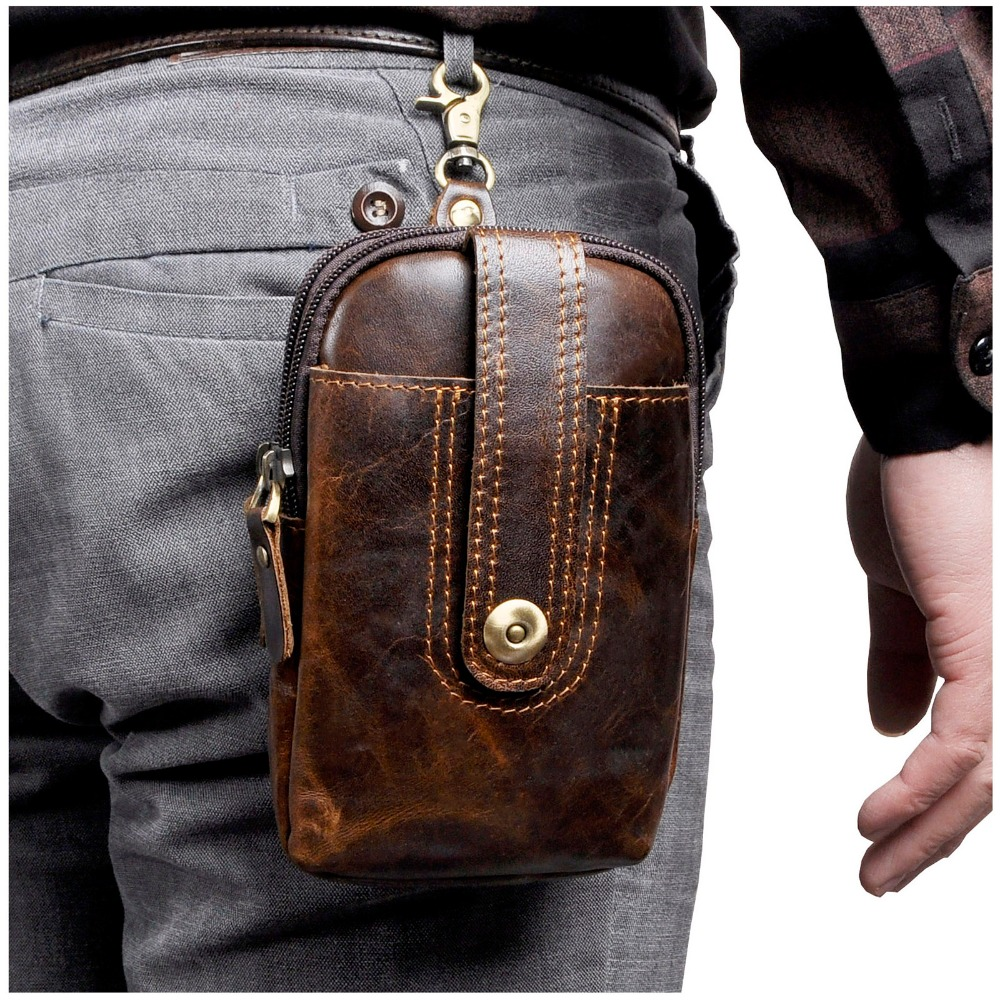 Real Leather Men Casual Design Small Waist Bag Pouch Cowhide Fashion Hook Waist Belt Pack Cigarette Case Phone Pouch 012c