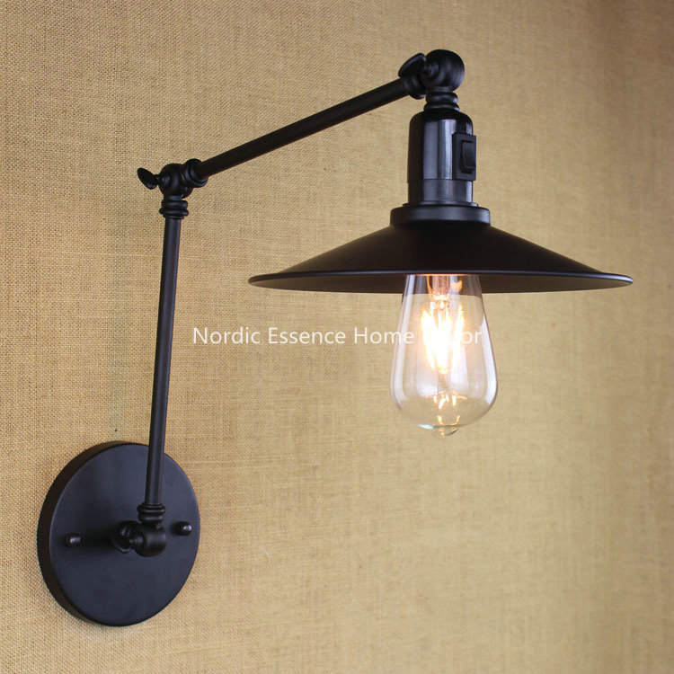 Nordic LOFT style bedroom bedside Restaurant Hotel cafe bar black belt retro double long arm wall sconce lighting with switch