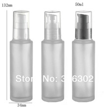 10/lot 50ml frost glass lotion pump bottle,50cc frost glass cream bottle, 50cc glass bottle