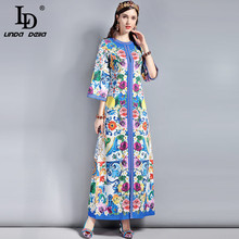 LD LINDA DELLA Runway Designer Brand Maxi Dress Women's Flare sleeve High Split Loose Belted Gorgeous Floral Printed Long Dress retro buttoned high waisted belted flare dress