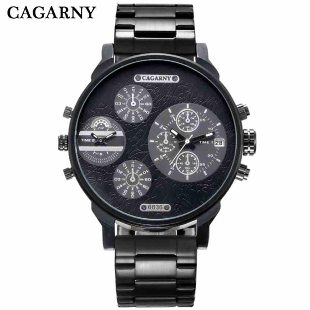 CAGARNY Casual Brand Men Stainless steel strap Watch Military Quartz Watch Sports Date Clock Multiple time zone Watch PENGNATATE weide luxury brand men sports watch multiple time zone back light blue black fashion casual wristwatches hot clock wh5203