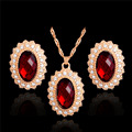 Fashion Bridal Wedding Jewelry Sets Fine Classic Gold Plated Round Crystal Rhinestone Earrings Necklaces jewelery Set For Women