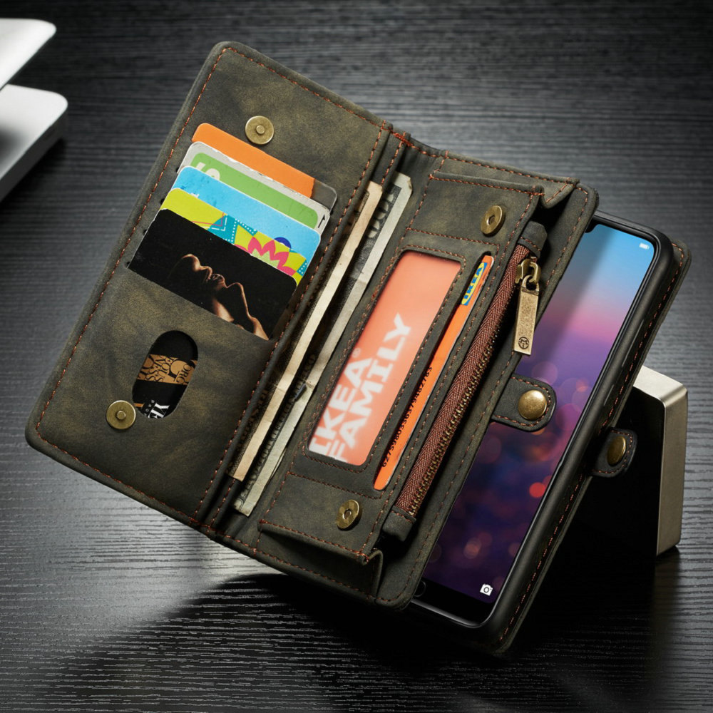 Luxury Zipper Wallet Flip Leather Case For Huawei P20 Lite/P20/P20 Pro Cover With 11 Card Pockets Phone Bags Back Shell Coque