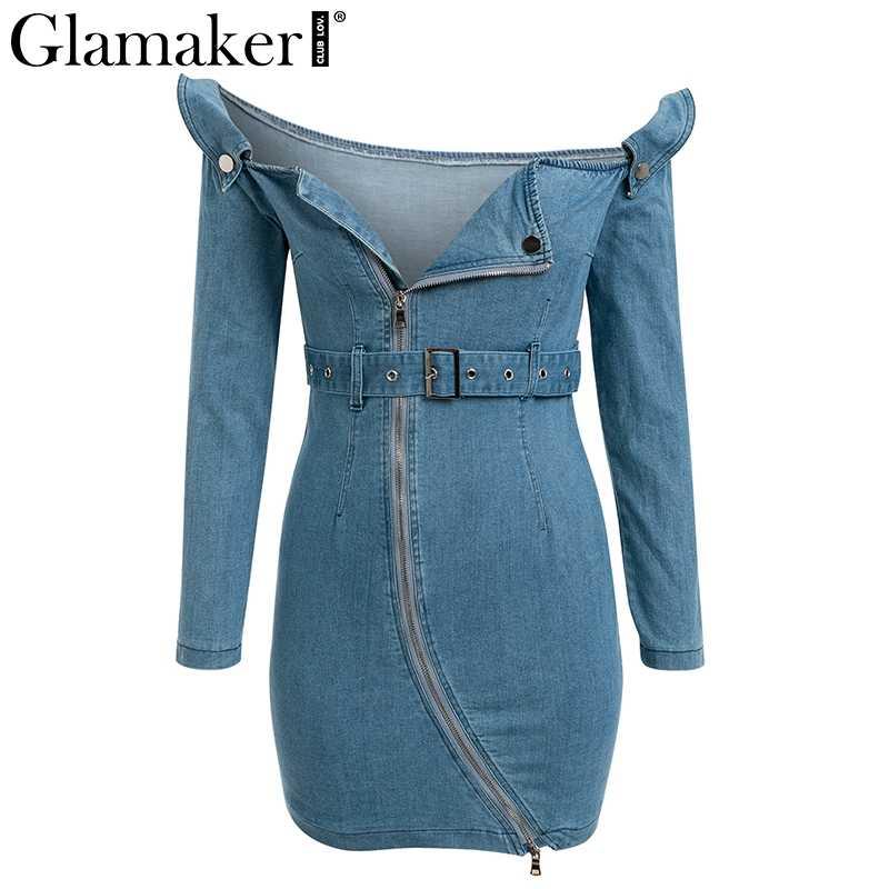Glamaker с открытыми плечами Сексуальное мини джинсовое платье женское с пряжкой ремень bodycon летнее джинсовое платье женское элегантное для вечеринки и клуба платье vestidos