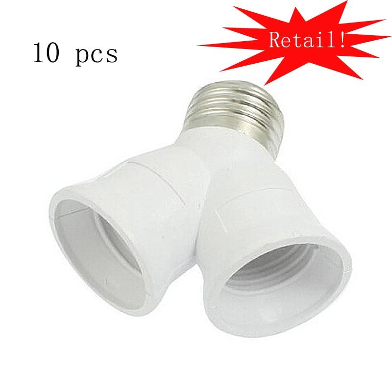 Grossist! 10st E27 2 Splitter Adapter Converter Socket Light Lamp Bulb Socket Y Shape 2 in 1 Splitter Adapter Light Bulb Base